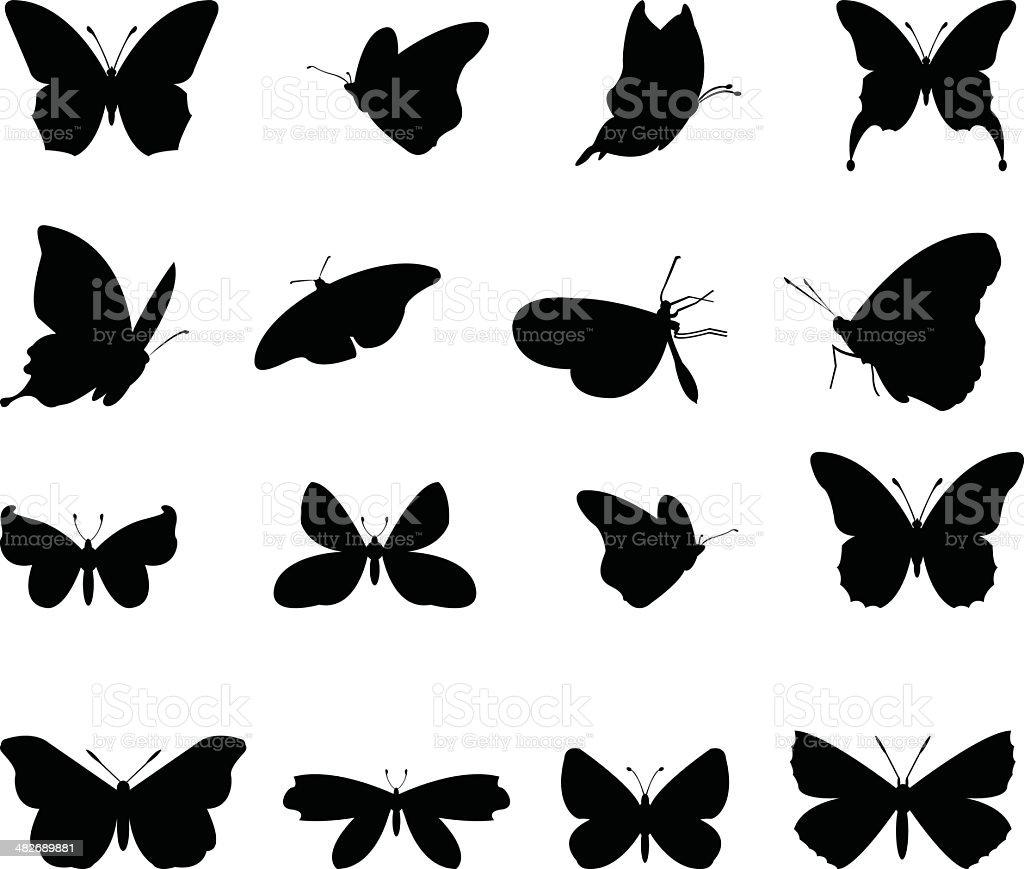 butterflies silhouette vector art illustration