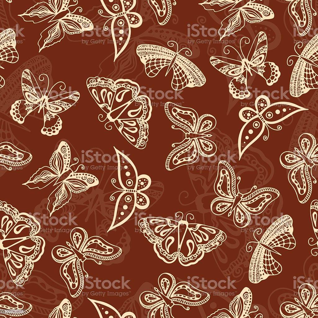 Papillons Silhouettes De Style Dessin A La Main De Tatouage Stock