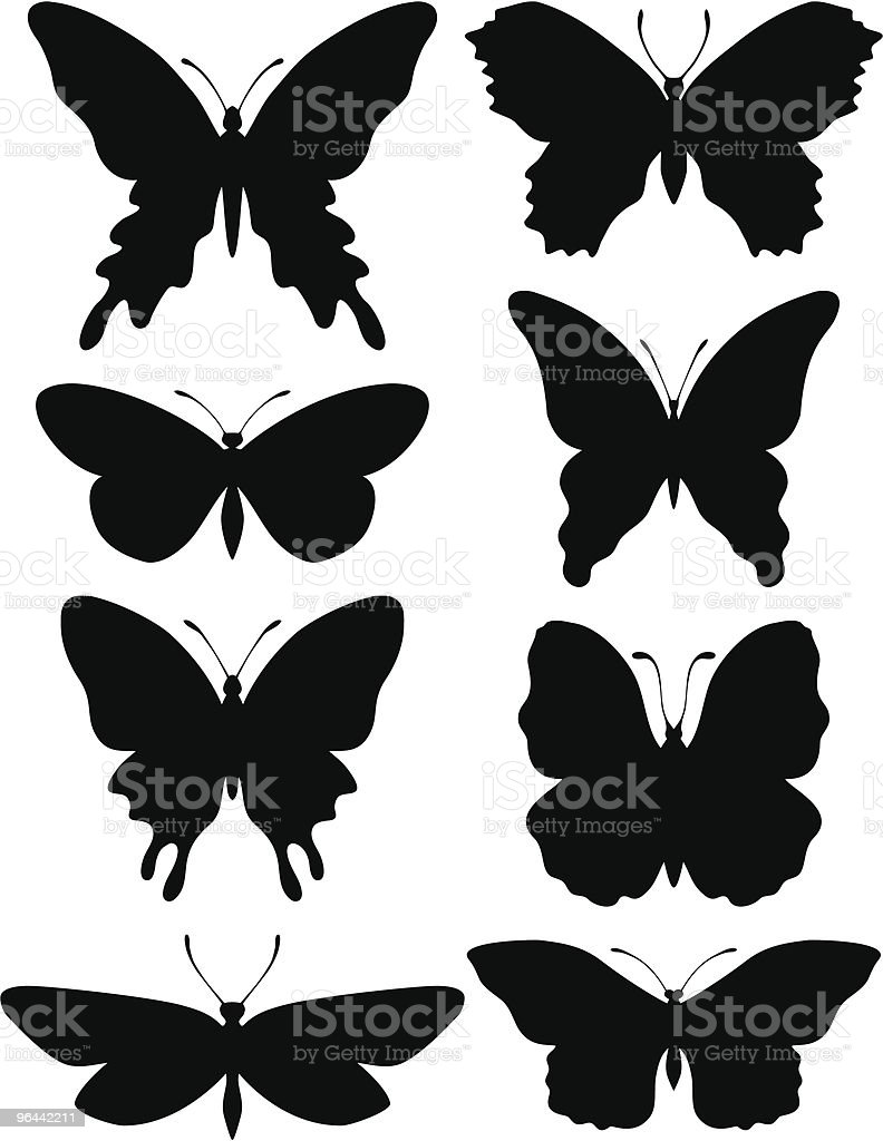 Butterflies Silhouettes - Royalty-free Animal Antenna stock vector