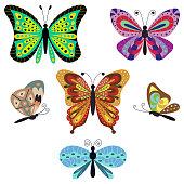 Butterfly vector cartoon set.