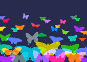 Colourful silhouettes of Butterflies. Possible metaphor for freedom.