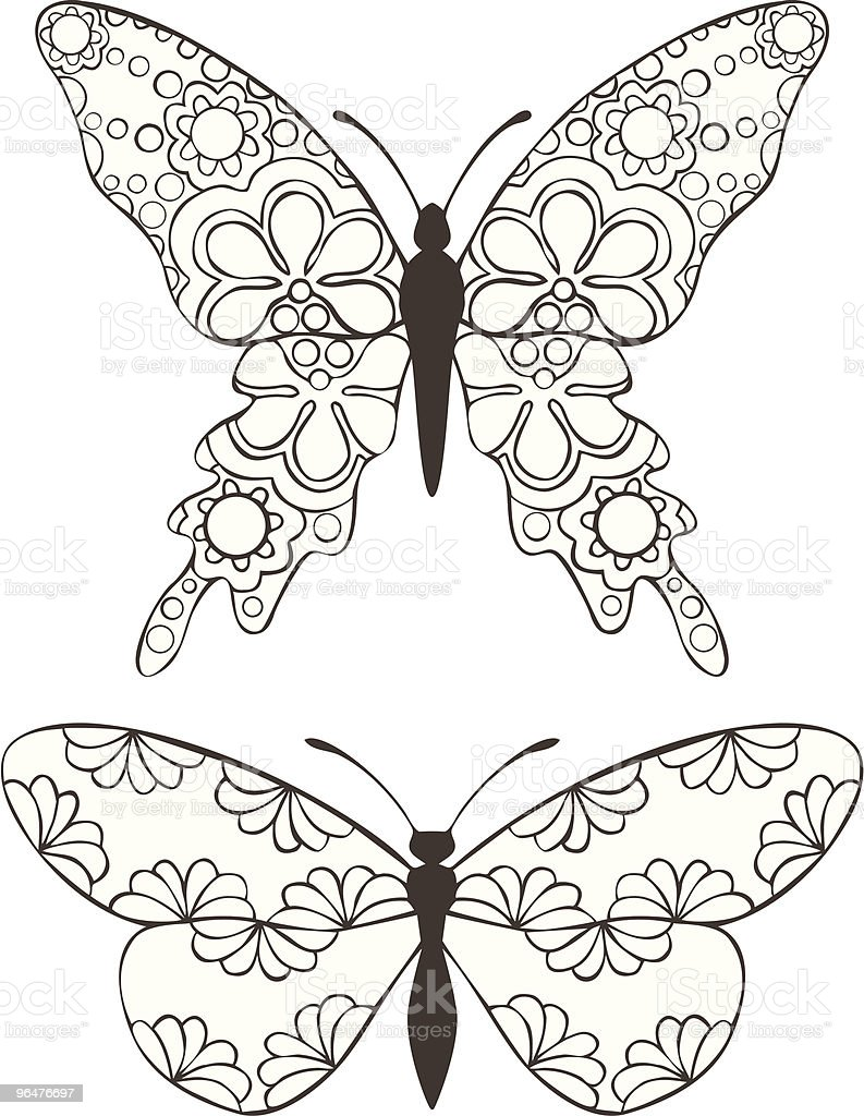 Butterflies with Floral pattern royalty-free butterflies with floral pattern stock vector art & more images of black and white