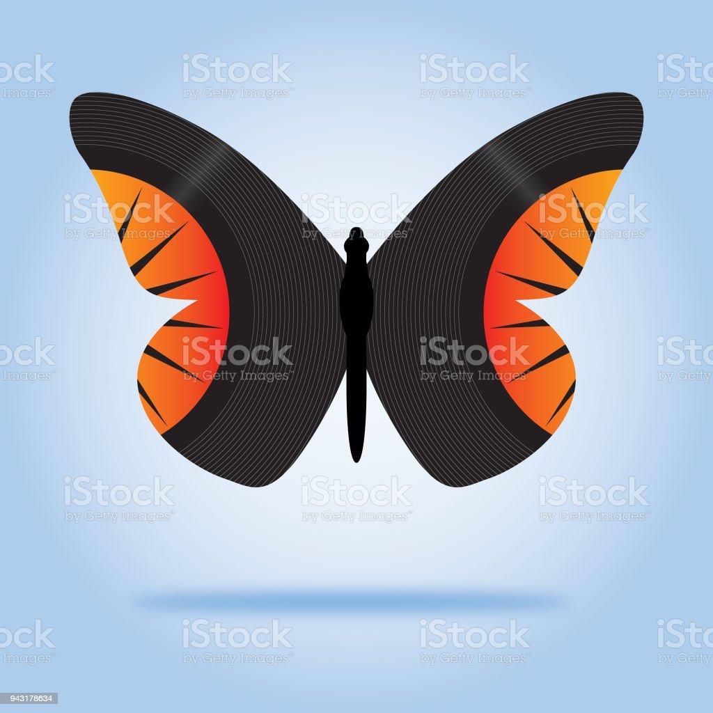Butterfly 45 RPM Records vector art illustration