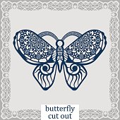 Butterfly - a template for laser cutting. Design element for a wedding, romantic meeting or greeting card.  Can be used as a decorative element in the construction, in the windows. Vector.