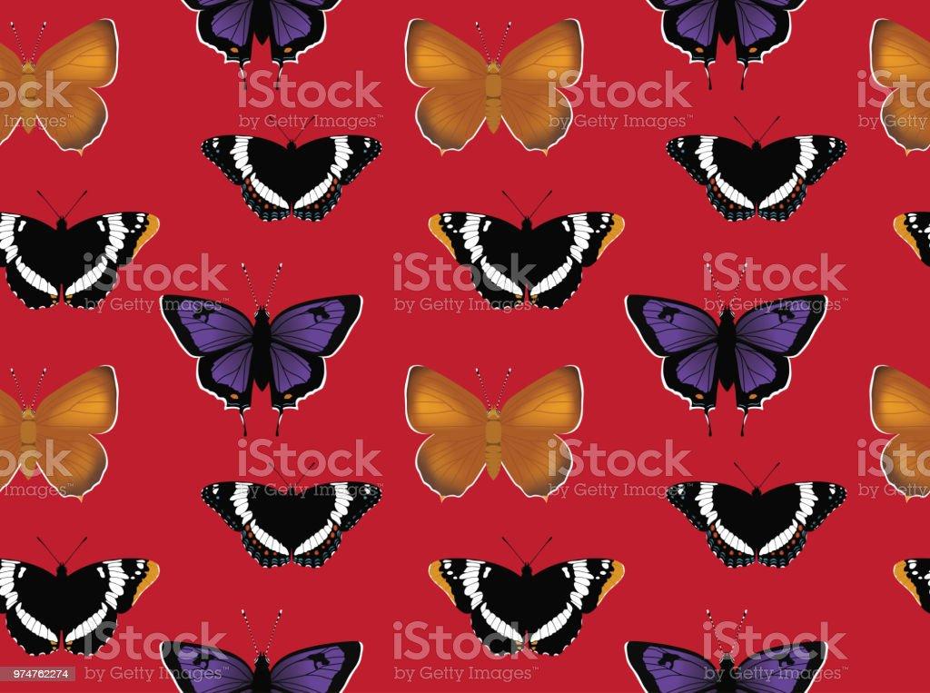 Schmetterling Admiral Zipfelfalter Hintergrund Seamless Wallpaper – Vektorgrafik