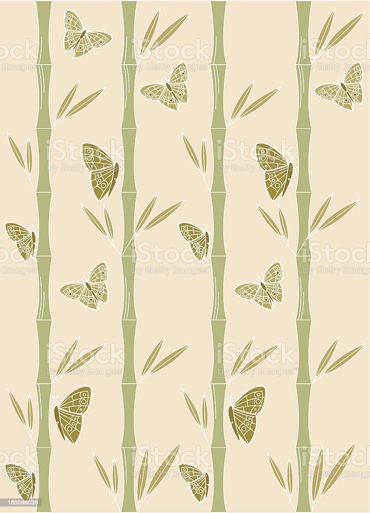 Mariposa y patrón de bambú ilustración de mariposa y patrón de bambú y más banco de imágenes de animal libre de derechos