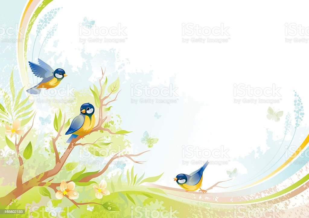 Butterfly and birds background with copyspace: tits royalty-free stock vector art