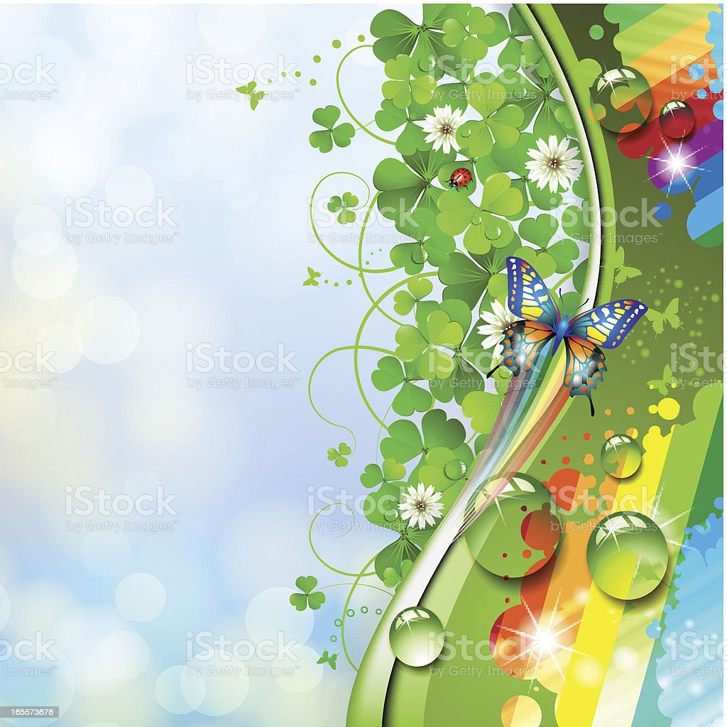 Butterfly and clover royalty-free stock vector art