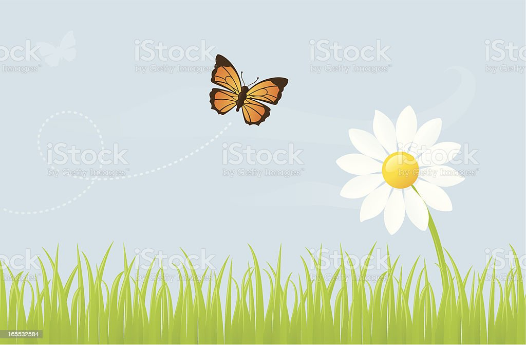 Butterfly and Daisy - incl. jpeg royalty-free butterfly and daisy incl jpeg stock vector art & more images of blue