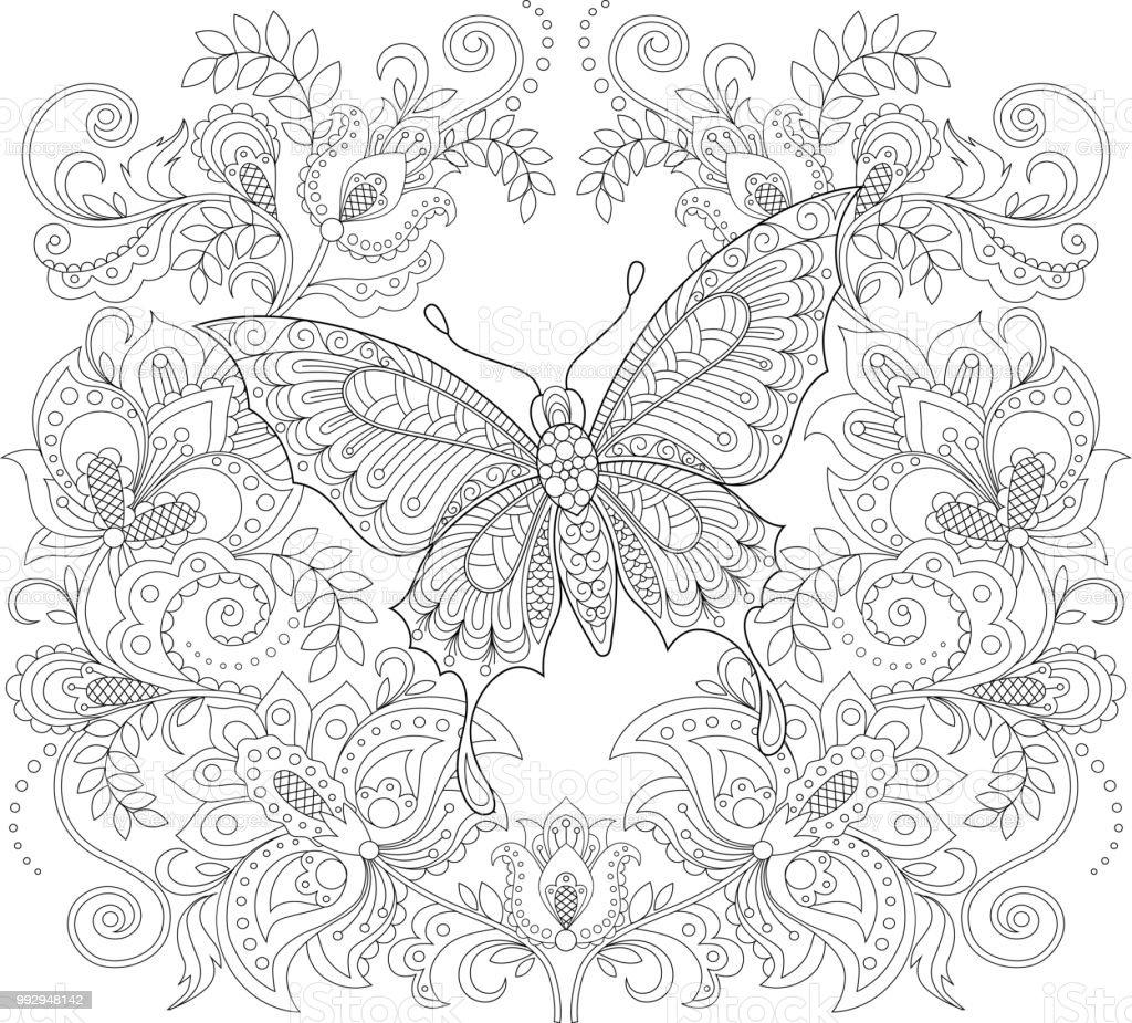 Kelebek Ve çiçek Süsleme Yetişkin Antistress Boyama Sayfası Siyah Ve