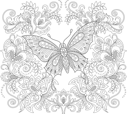 Butterfly And Floral Ornament Adult Antistress Coloring Page Black
