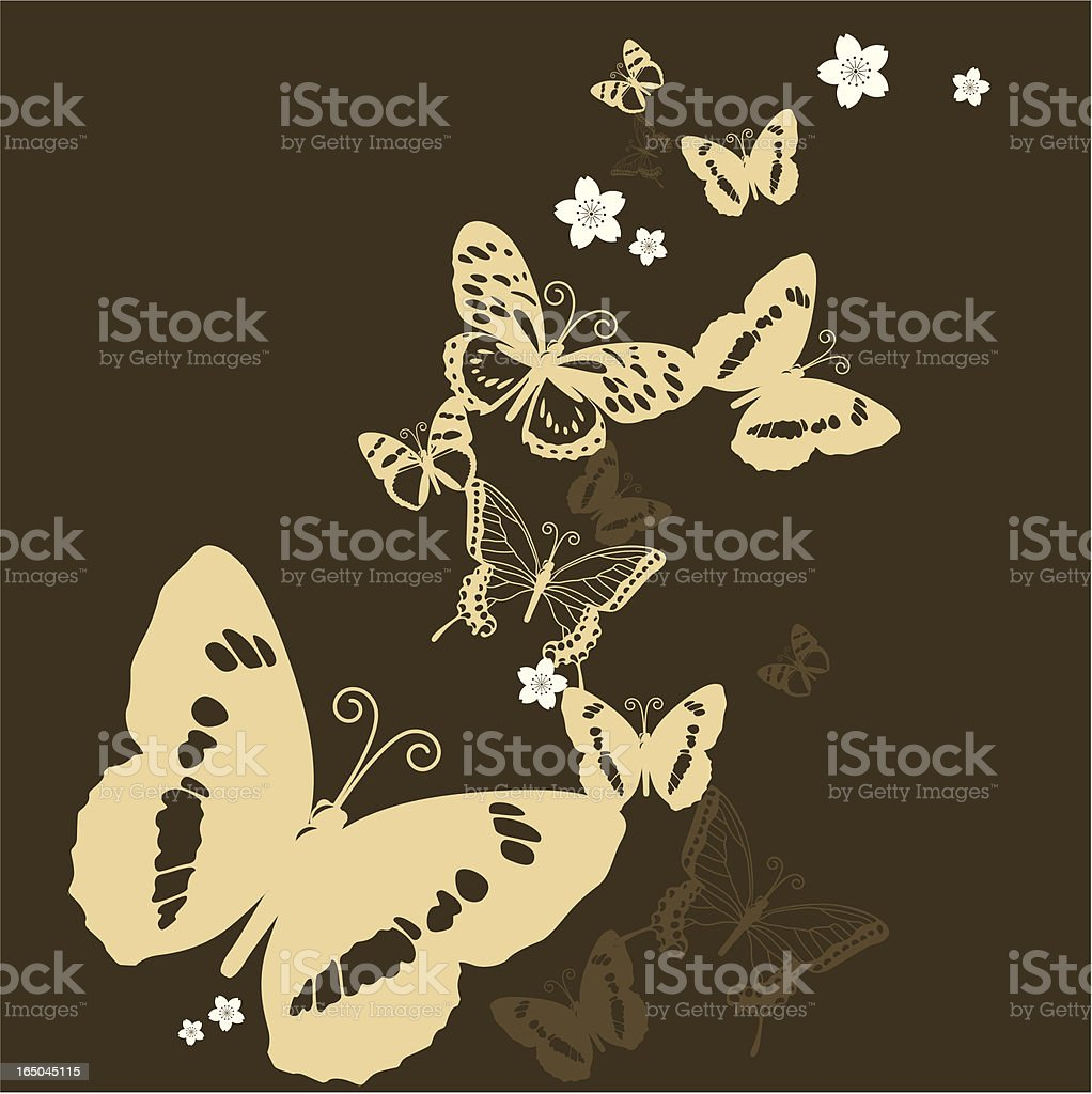 Butterfly and floral silhouette Patterns in golden color royalty-free stock vector art