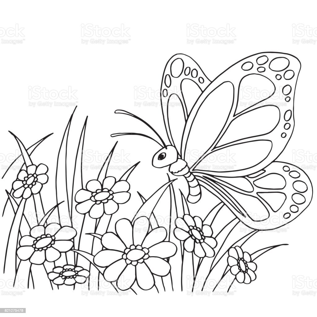 Ilustración De Dibujos Animados De Mariposas Y Flores Para