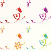 Set of four backgrounds with butterfly and ribbon scrolling in shape of heart or flower. Copy space. Global colors used.