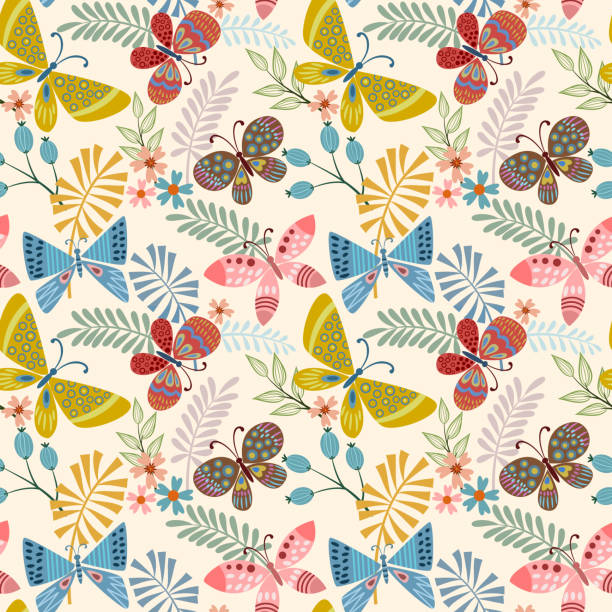 Butterfly and leaf seamless pattern. Butterfly and leaf in vintage color seamless pattern fabric textile. butterfly insect stock illustrations