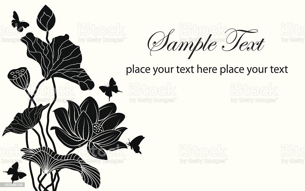Schmetterling Und Lotus Blume Auf Einem Weißen Hintergrund Vektor ...