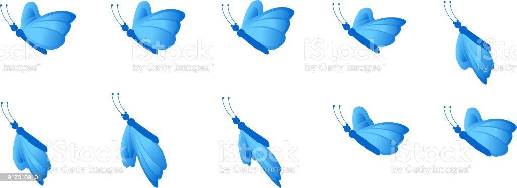 Ilustración de Hoja De Sprite De Animación De Mariposa y más banco ...