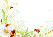 Butterfly background with beautiful swirls, leafs, blue dragonflies.