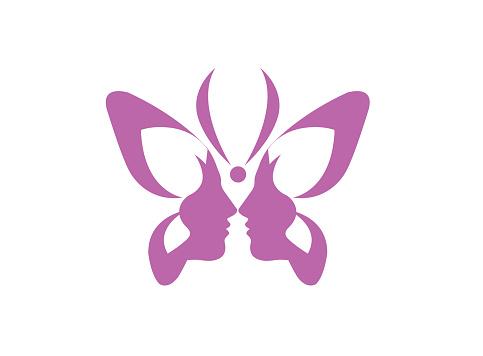 Butterfly beauty, double face ladies logo Schmetterling