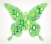 Butterfly Binary Code Zero One Vector Illustration. This royalty free vector illustration features a set green binary numbers zero and one pattern that forms the main shape in the center of this composition. The 0 and 1 numbers vary in size and in the shade of the green color. The background is light with a slight gradient. This image is ideal for technology and mathematical binary code concepts. The design is very clean and elegant and the vector background can be scaled to any size.