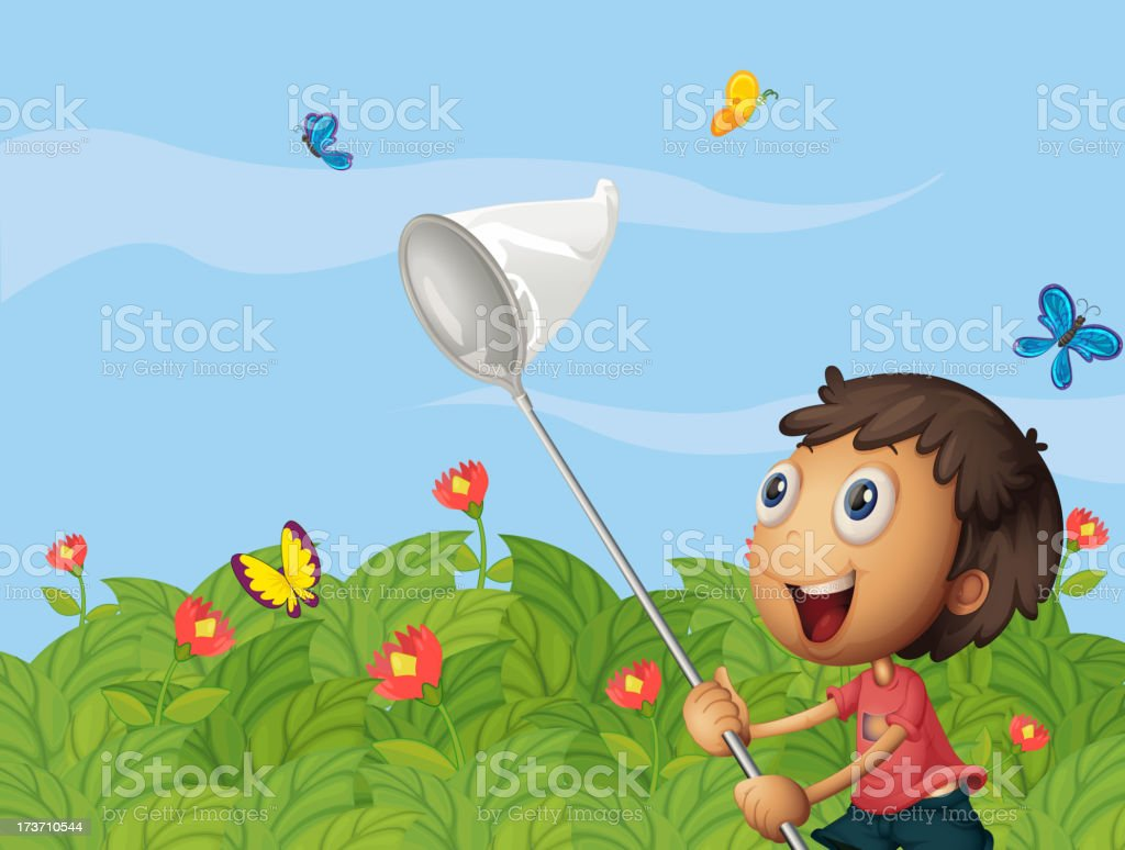 Butterfly catcher in the garden royalty-free stock vector art