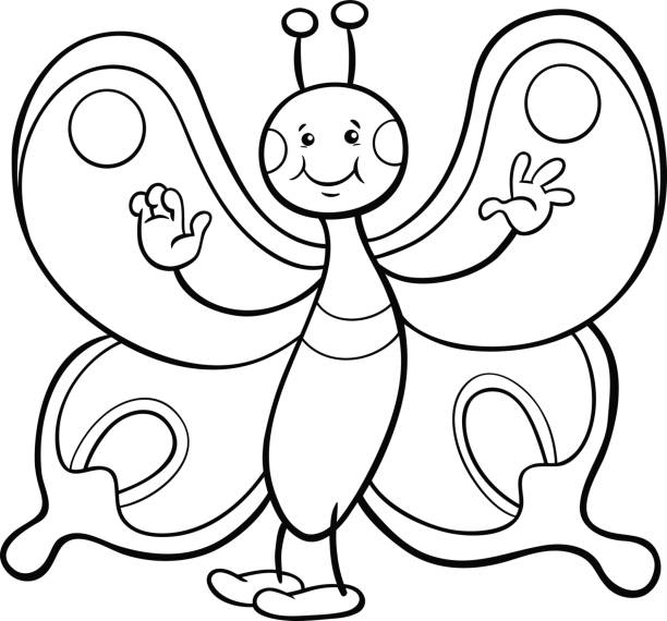 Butterfly Character Coloring Page Vector Art Illustration