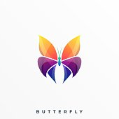 Butterfly Color Illustration Vector Template. Suitable for Creative Industry, Multimedia, entertainment, Educations, Shop, and any related business.
