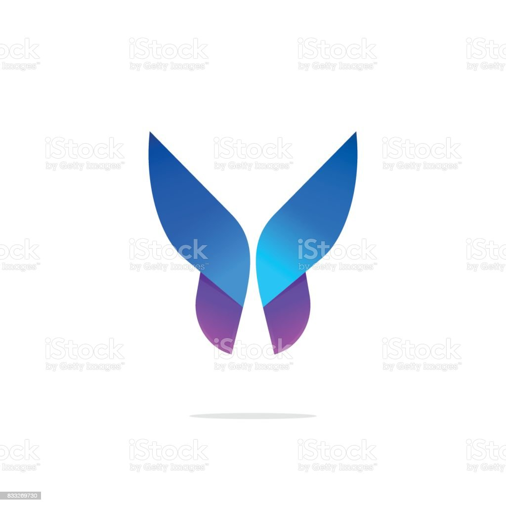 Butterfly colorful icon template with gradient on wings