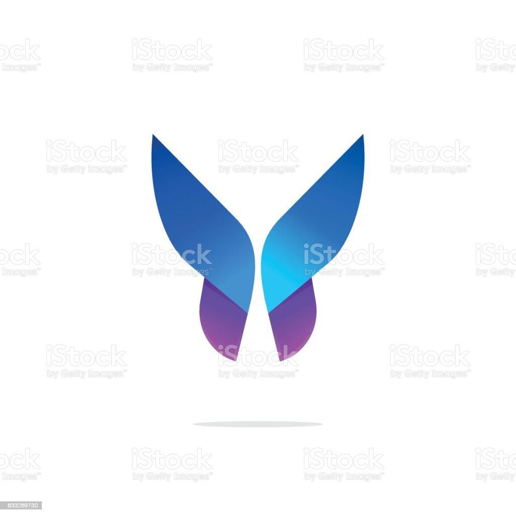 Plantilla de colorido icono de mariposa con gradiente en alas - ilustración de arte vectorial