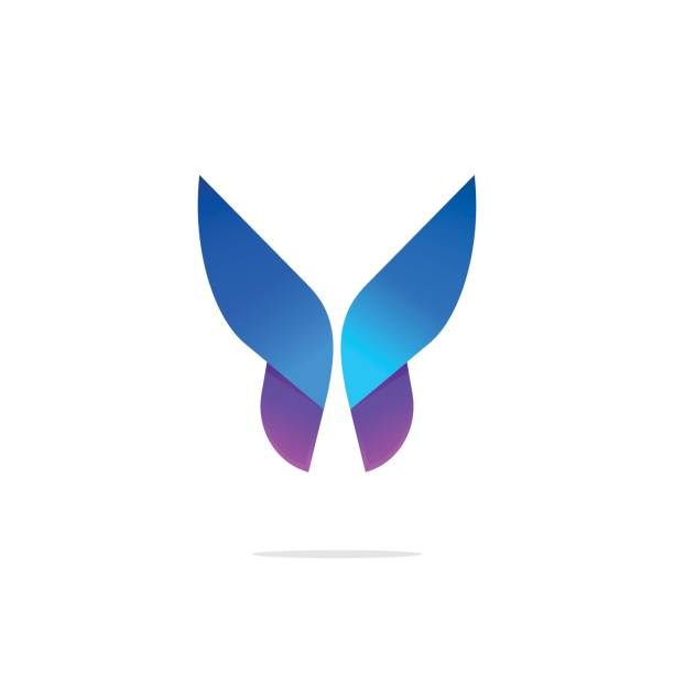 Butterfly colorful icon template with gradient on wings Butterfly colorful icon template with gradient on wings, abstract purple butterfly shape in blue and violet colors, elegant modern vector butterfly element design for business card, brand or identity aircraft wing stock illustrations