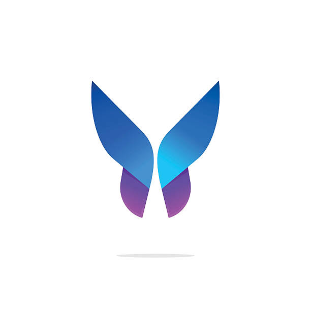 Butterfly colorful logo template with gradient on wings - ilustración de arte vectorial