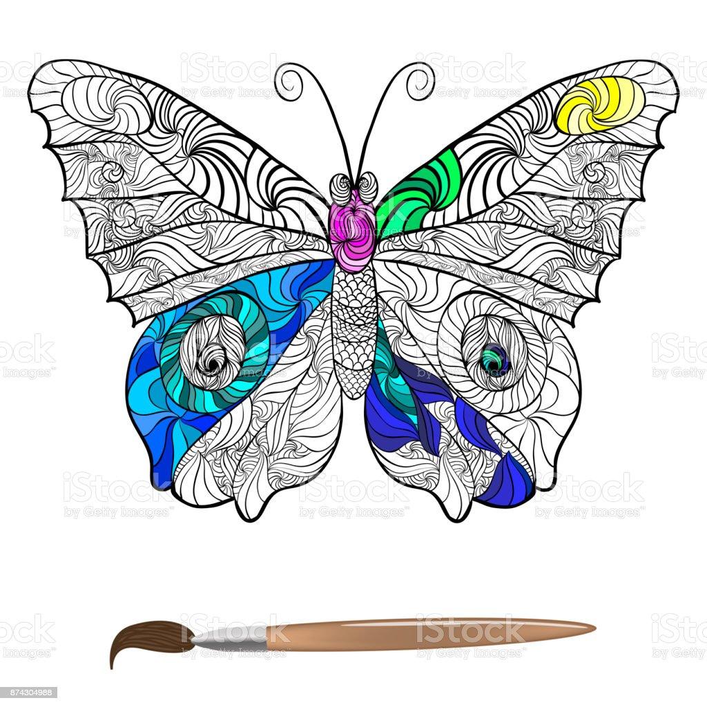 Kelebek Boyama Antistres Vektör Stok Vektör Sanatı Arka Planlar