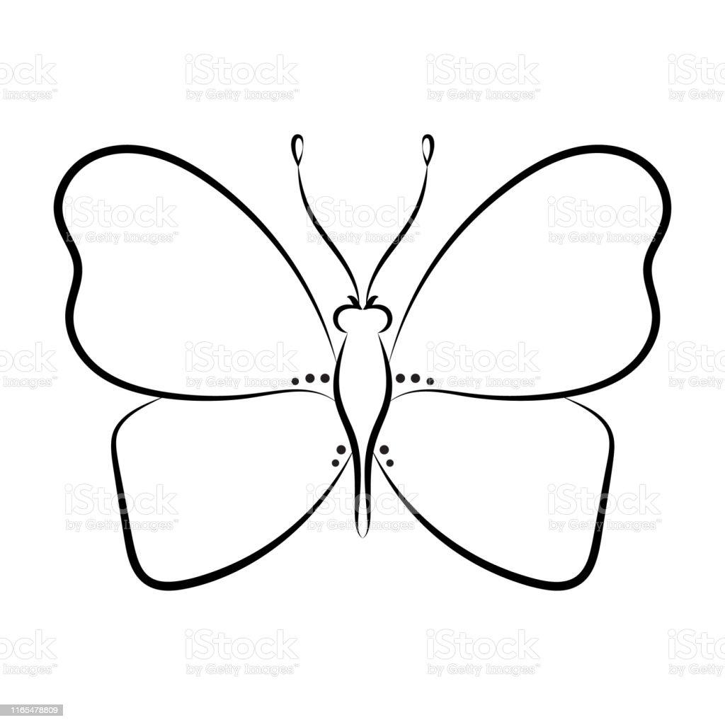 Ilustración De Página Del Libro Para Colorear Mariposas Para