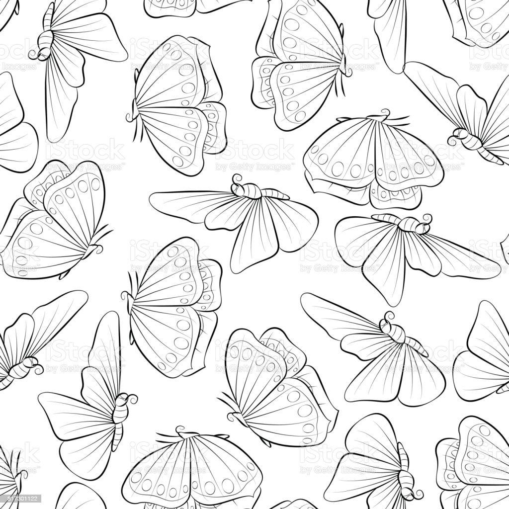 Kelebek Boyama Kitabı Dikişsiz Desen Arka Plan Doğa Bahar Tasarımı