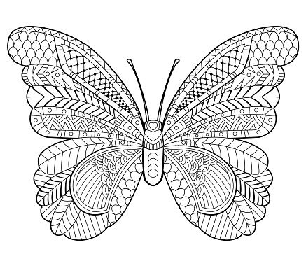 Butterfly coloring page for children and adults.
