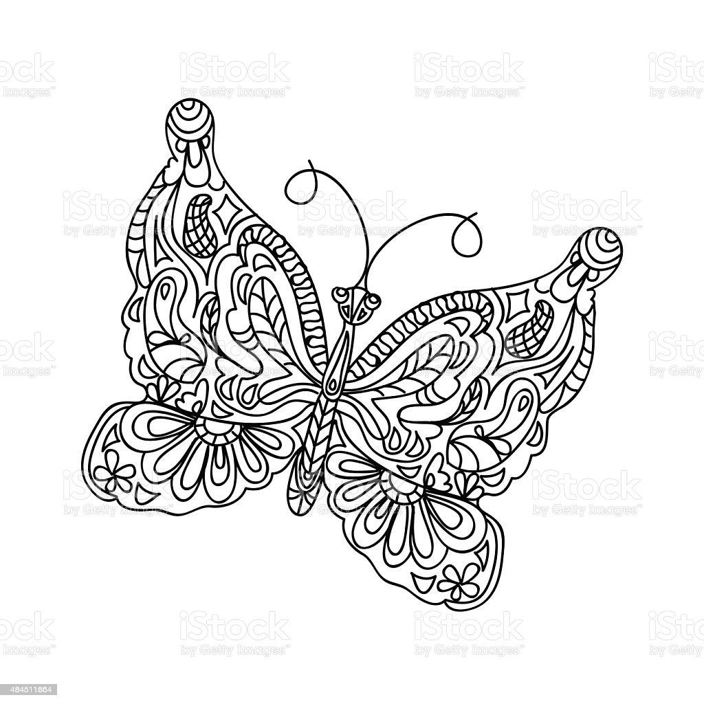 Schmetterling Malen Auf Der Seite Stock Vektor Art und mehr Bilder