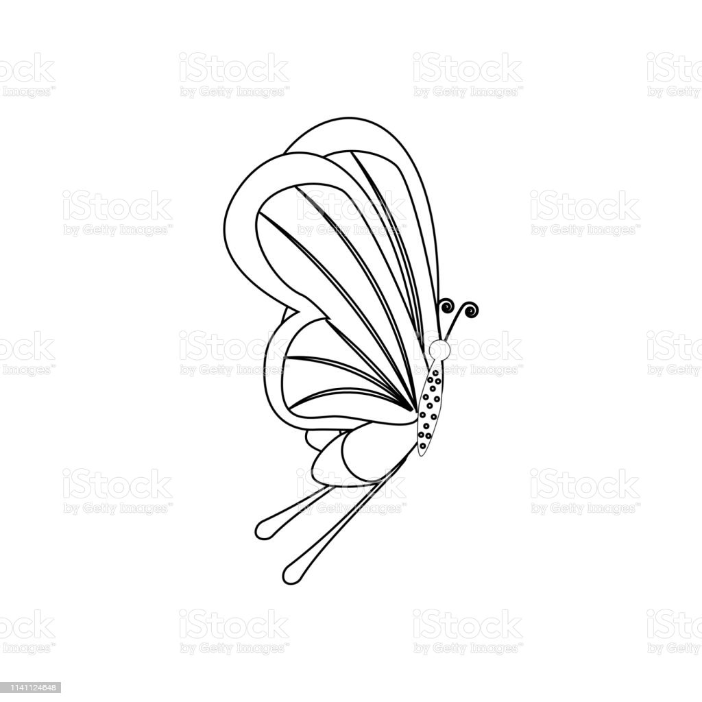 Flying Butterfly Coloring Page Stock Vector - Illustration of ... | 1024x1024