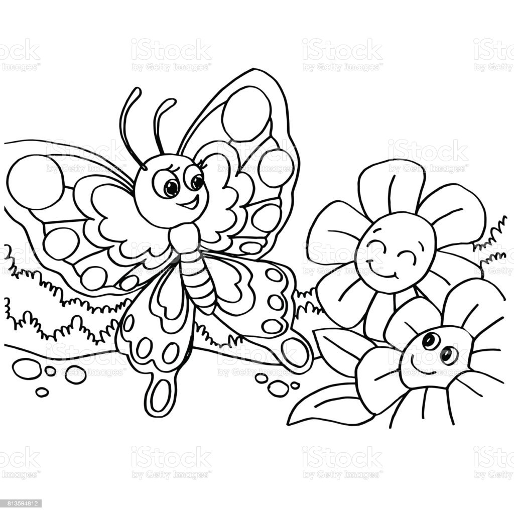 Kelebek Boyama Sayfalari Vektor Stok Vektor Sanati Animasyon