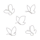 Butterfly continuous line vector illustration set. Collection of butter fly made with single editable path. Modern continuous line drawing of simplicity butterflies silhouette for logo and tattoo.