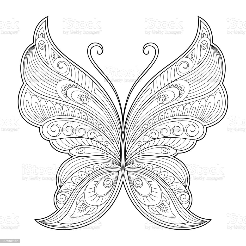 b0884f23f0f4b Butterfly decorative element. Pattern for the design of postcards, posters,  tattoos, drawings