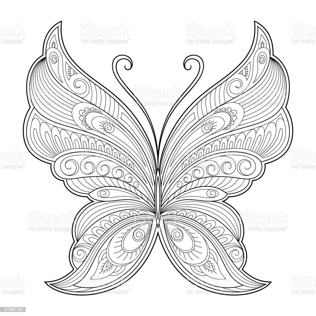 Elemento decorativo de borboleta. Padrão para o design de cartões postais, pôsteres, tatuagens, desenhos de henna. Página para o livro de colorir. - ilustração de arte em vetor