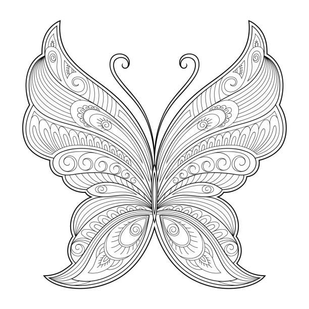 ilustrações, clipart, desenhos animados e ícones de elemento decorativo de borboleta. padrão para o design de cartões postais, pôsteres, tatuagens, desenhos de henna. página para o livro de colorir. - fontes de tatuagem