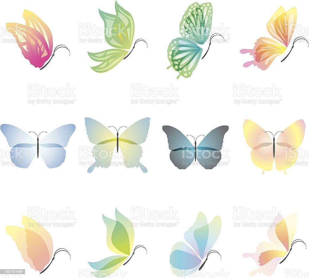 Butterfly Design Elements royalty-free stock vector art