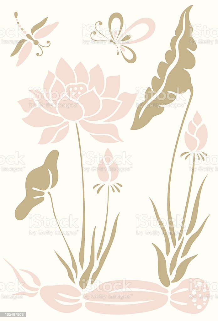 Butterfly, Dragonfly & Lotus Flowers royalty-free stock vector art