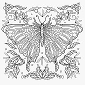 butterfly drawn with abstract floral ornament for coloring, vector for coloring, vector drawn