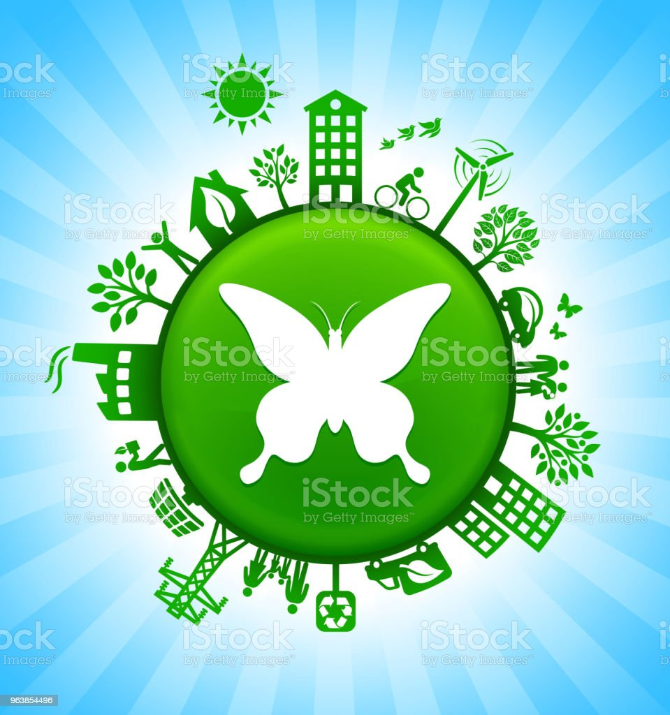 Butterfly Environment Green Button Background on Blue Sky - Royalty-free Alternative Energy stock vector