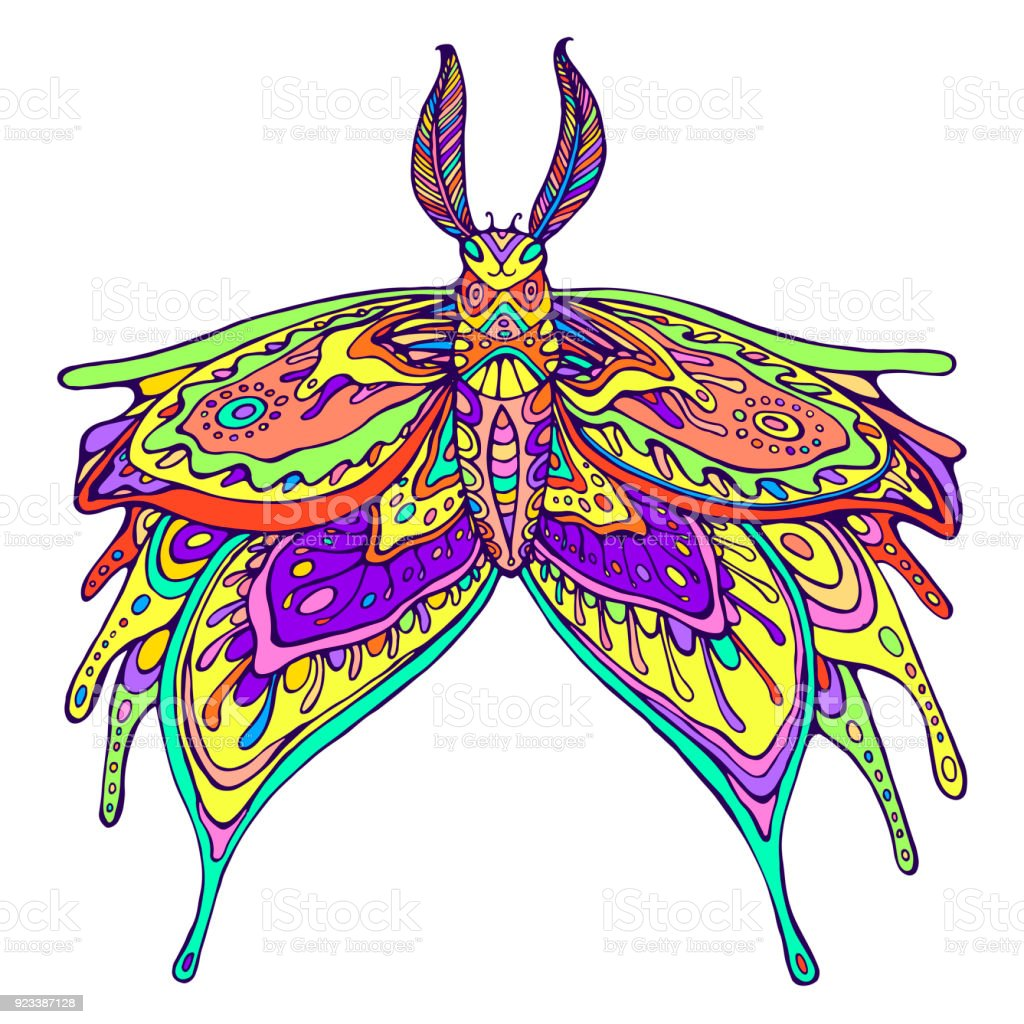 Butterfly Fantasy Rainbow Color Page Stock Vector Art & More Images ...