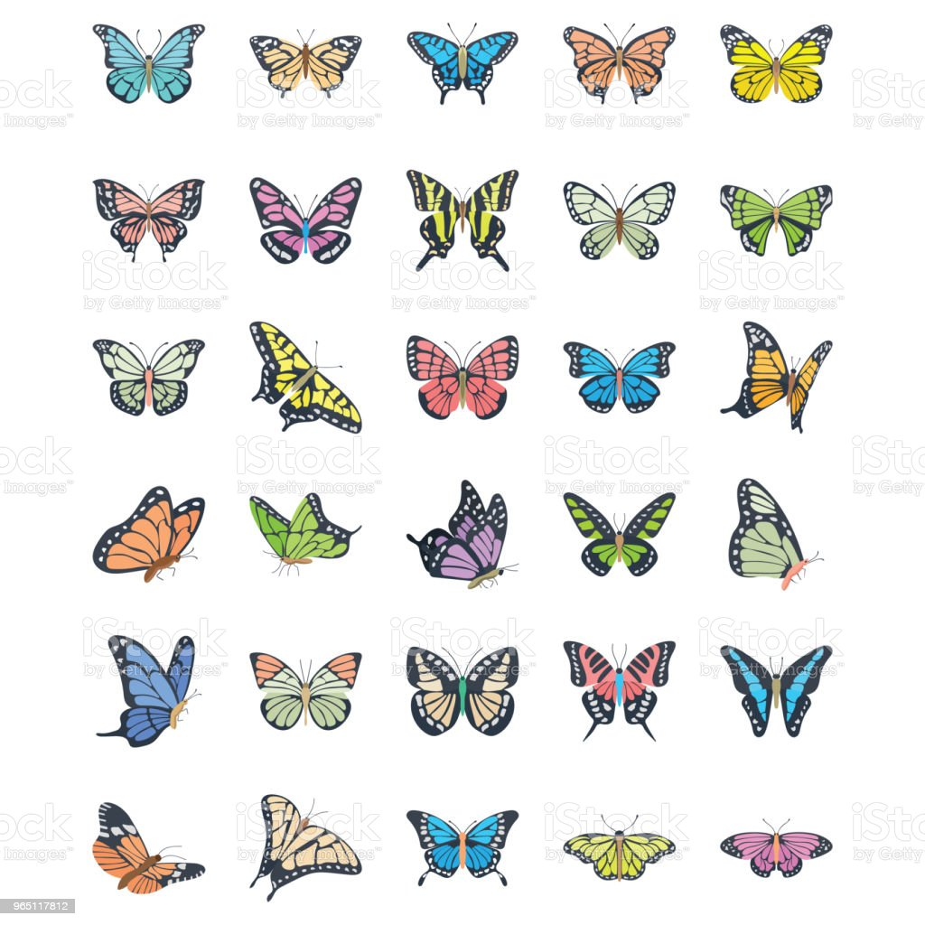 Butterfly Flat Vector Icons Set royalty-free butterfly flat vector icons set stock vector art & more images of adonis blue