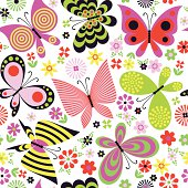 A seamless pattern of butterflies and flowers. EPS8, RGB.
