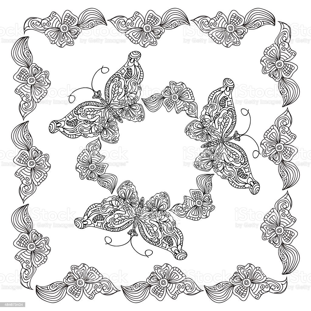 Butterfly Frame Coloring Page Stock Vector Art & More Images of 2015 ...